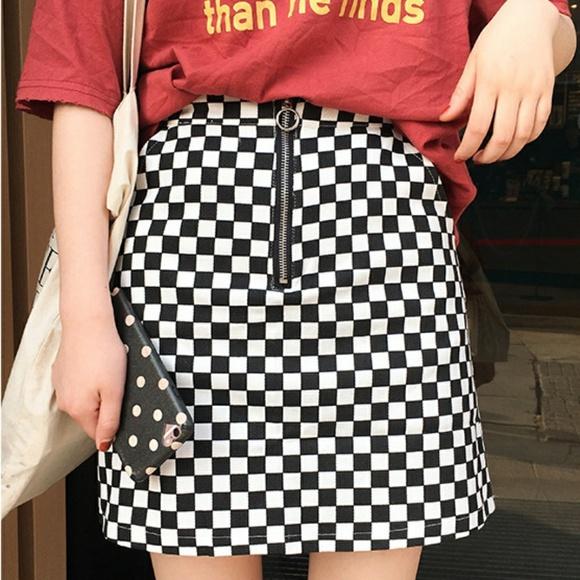 🏁 K-Pop Ulzzang Checkered O-Ring Skirt 🏁 NWT